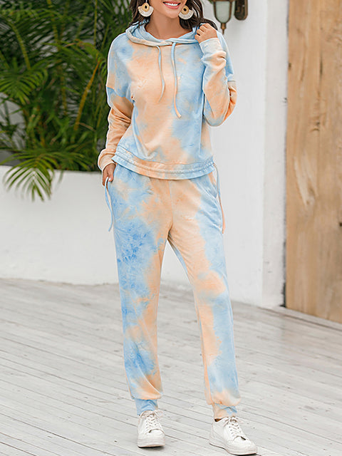 Color=Orange | Tie-Dye Printed Women'S Pajama Suit Long Sleeve Hoodies & Trousers-Orange 3