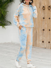 Color=Orange | Tie-Dye Printed Women'S Pajama Suit Long Sleeve Hoodies & Trousers-Orange 4