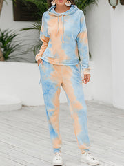 Color=Orange | Tie-Dye Printed Women'S Pajama Suit Long Sleeve Hoodies & Trousers-Orange 1