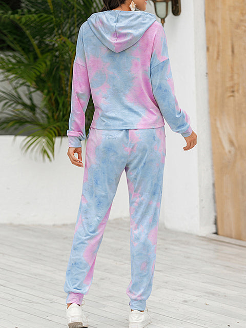 Color=Purple | Tie-Dye Printed Women'S Pajama Suit Long Sleeve Hoodies & Trousers-Purple 2