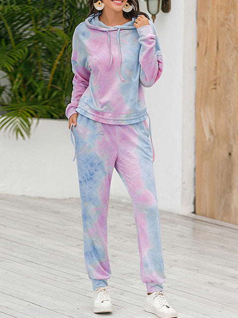 Color=Purple | Tie-Dye Printed Women'S Pajama Suit Long Sleeve Hoodies & Trousers-Purple 3