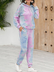 Color=Purple | Tie-Dye Printed Women'S Pajama Suit Long Sleeve Hoodies & Trousers-Purple 4