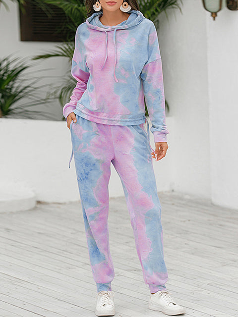 Color=Purple | Tie-Dye Printed Women'S Pajama Suit Long Sleeve Hoodies & Trousers-Purple 1