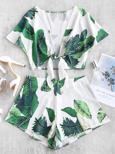 Color=White | Fashion Floral And Tropical Print Suit-White 1