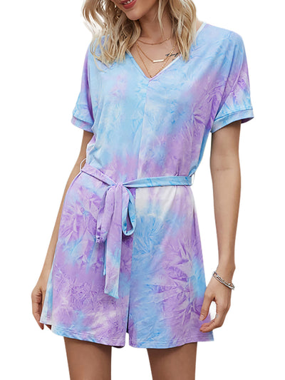 Color=Purple | Lovely Tie-Dye V-Neck Pajama Suits With A Ribbon Belt-Purple 1