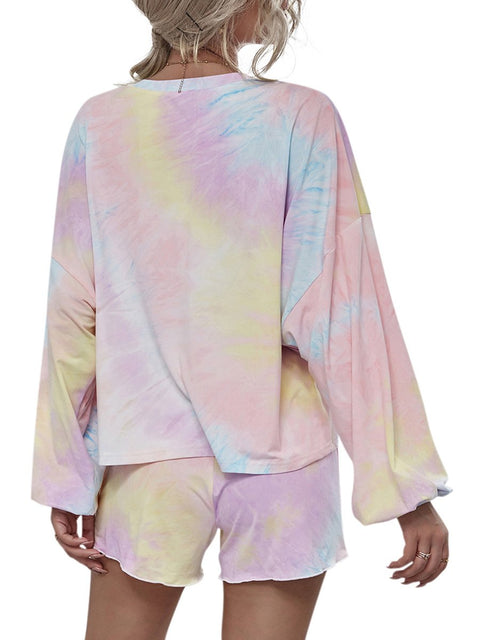 Color=Pink | Cute Casual Women'S Tie-Dye Long Sleeves Pajama Sets-Pink 2