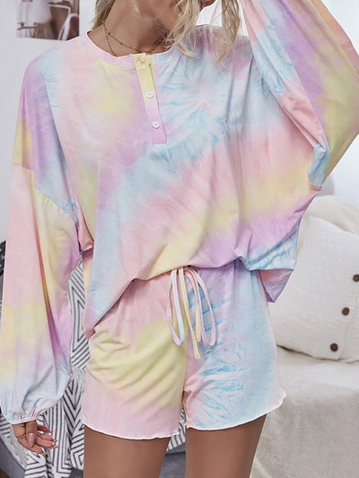 Color=Pink | Cute Casual Women'S Tie-Dye Long Sleeves Pajama Sets-Pink 1