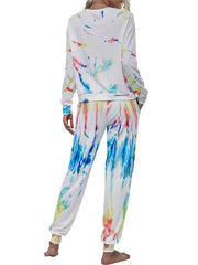 Color=White | Trendy Casual Loungewear Round Neckline Tie-Dye Pajama Sets-White 2