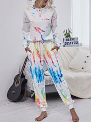 Color=White | Trendy Casual Loungewear Round Neckline Tie-Dye Pajama Sets-White 1