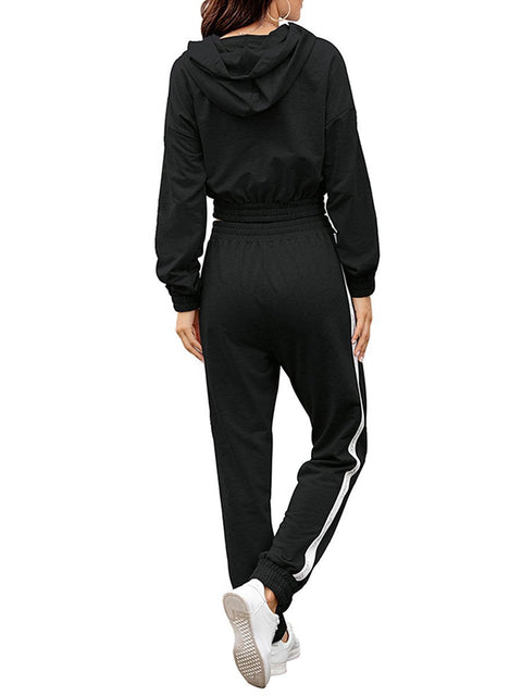 Color=Black | Fashion Hoodie & High-Waisted Sweatpants Training Suit Sets-Black 2
