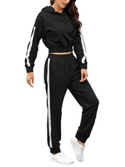 Color=Black | Fashion Hoodie & High-Waisted Sweatpants Training Suit Sets-Black 3