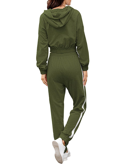 Color=Dark Green | Fashion Hoodie & High-Waisted Sweatpants Training Suit Sets-Dark Green 2