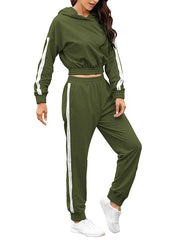 Color=Dark Green | Fashion Hoodie & High-Waisted Sweatpants Training Suit Sets-Dark Green 3