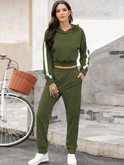 Color=Dark Green | Fashion Hoodie & High-Waisted Sweatpants Training Suit Sets-Dark Green 1
