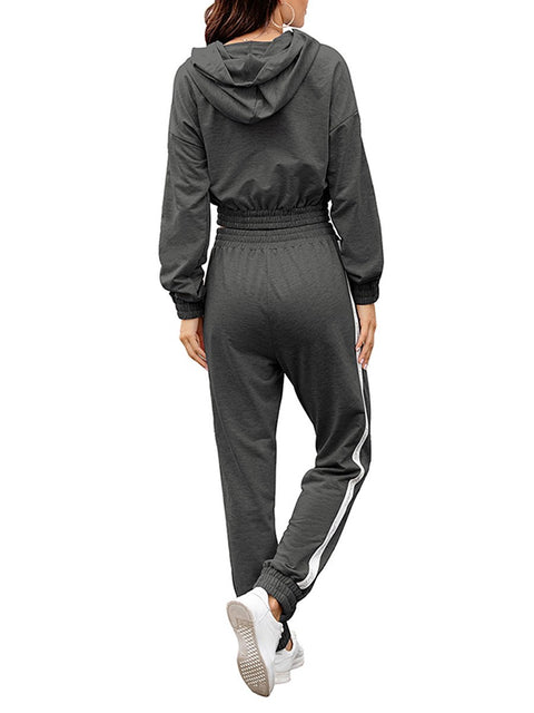 Color=Deep Grey | Fashion Hoodie & High-Waisted Sweatpants Training Suit Sets-Deep Grey 2