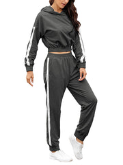 Color=Deep Grey | Fashion Hoodie & High-Waisted Sweatpants Training Suit Sets-Deep Grey 3