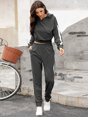 Color=Deep Grey | Fashion Hoodie & High-Waisted Sweatpants Training Suit Sets-Deep Grey 1