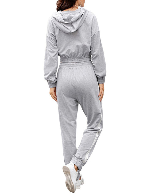 Color=Grey | Fashion Hoodie & High-Waisted Sweatpants Training Suit Sets-Grey 2