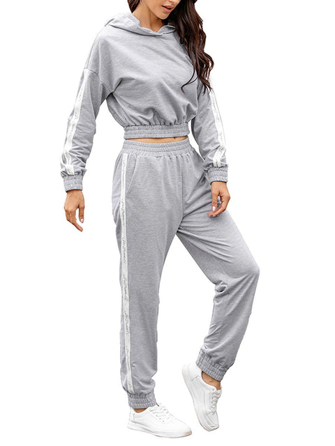 Color=Grey | Fashion Hoodie & High-Waisted Sweatpants Training Suit Sets-Grey 3