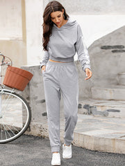 Color=Grey | Fashion Hoodie & High-Waisted Sweatpants Training Suit Sets-Grey 1