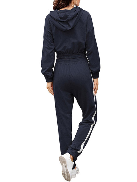 Color=Navy Blue | Fashion Hoodie & High-Waisted Sweatpants Training Suit Sets-Navy Blue 2