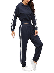 Color=Navy Blue | Fashion Hoodie & High-Waisted Sweatpants Training Suit Sets-Navy Blue 3