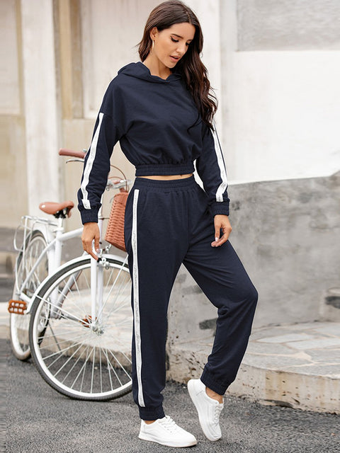 Color=Navy Blue | Fashion Hoodie & High-Waisted Sweatpants Training Suit Sets-Navy Blue 1