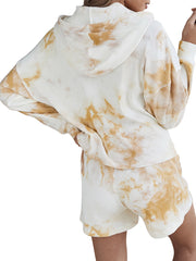 Color=Cream | Adorable Long Sleeves Tie-Dye Pajama Sets With Hoodie-Cream 2