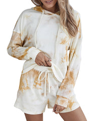 Color=Cream | Adorable Long Sleeves Tie-Dye Pajama Sets With Hoodie-Cream 3