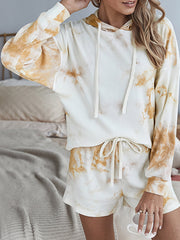 Color=Cream | Adorable Long Sleeves Tie-Dye Pajama Sets With Hoodie-Cream 1