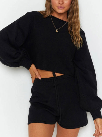 Color=Black | Fashion Solid Color Two-Piece Round Neck Sweater Pajama Sets-Black 1