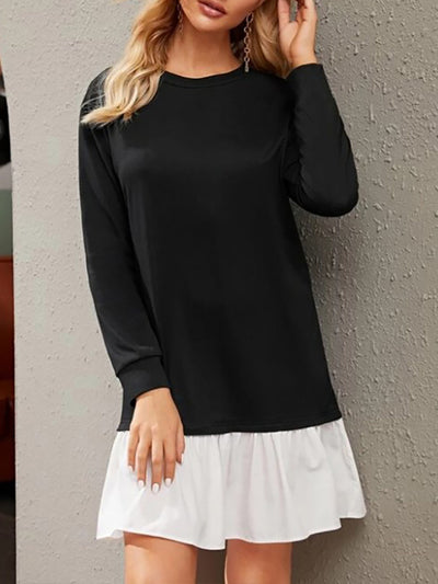 Color=Black | Women'S Elegant Simple Casual Dress With Long Sleeves-Black 1