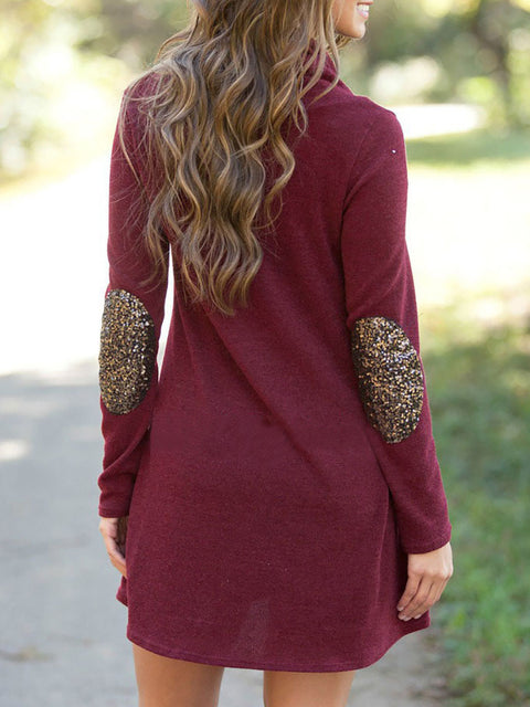 Color=Burgundy | Fashion Casual Dress With Full Sleeves And Cowl Neckline-Burgundy 2