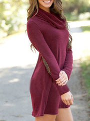 Color=Burgundy | Fashion Casual Dress With Full Sleeves And Cowl Neckline-Burgundy 3