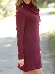 Color=Burgundy | Fashion Casual Dress With Full Sleeves And Cowl Neckline-Burgundy 4