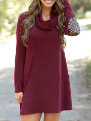 Color=Burgundy | Fashion Casual Dress With Full Sleeves And Cowl Neckline-Burgundy 1
