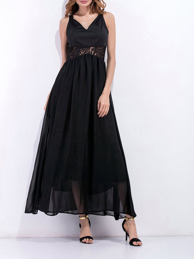 Color=Black | Women'S Pretty Hollow Waist Design Summer Dress-Black 1
