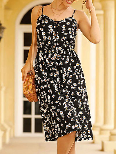 Sleeveless Daisy Printed Spaghetti Strap Summer Dresses