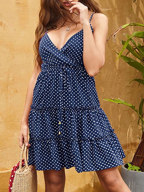 Color=Sapphire Blue | Sexy Polka Dot Deep V Neck Summer Dress For Women-Sapphire Blue 2