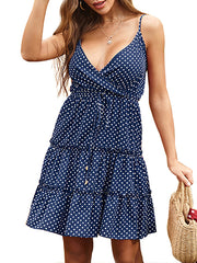 Color=Sapphire Blue | Sexy Polka Dot Deep V Neck Summer Dress For Women-Sapphire Blue 1
