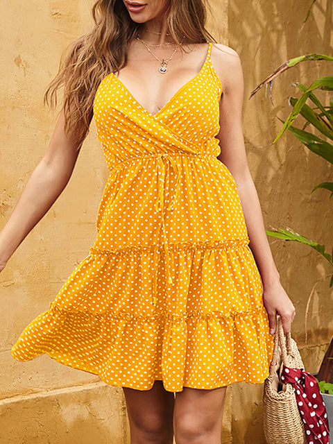 Color=Yellow | Sexy Polka Dot Deep V Neck Summer Dress For Women-Yellow 2