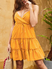 Color=Yellow | Sexy Polka Dot Deep V Neck Summer Dress For Women-Yellow 1