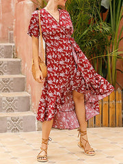 Color=Burgundy | Short-Sleeved Floral Printed Resort Dress With Side Tie-Burgundy 1