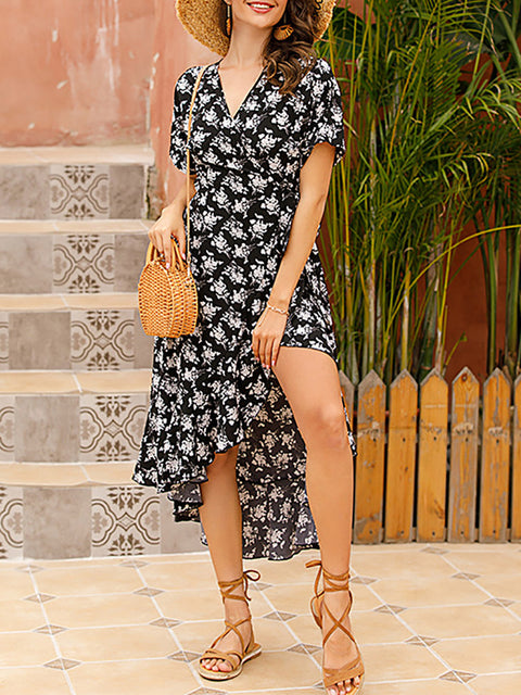 Color=Black | Short-Sleeved Floral Printed Resort Dress With Side Tie-Black 1