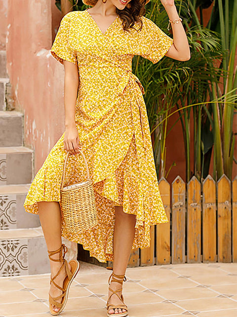 Color=Yellow | Short-Sleeved Floral Printed Resort Dress With Side Tie-Yellow 2