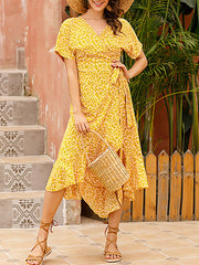 Color=Yellow | Short-Sleeved Floral Printed Resort Dress With Side Tie-Yellow 1