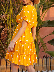 Color=Yellow | Lovely Printed V Neck Short Sleeves Summer Dress  For Women-Yellow 3