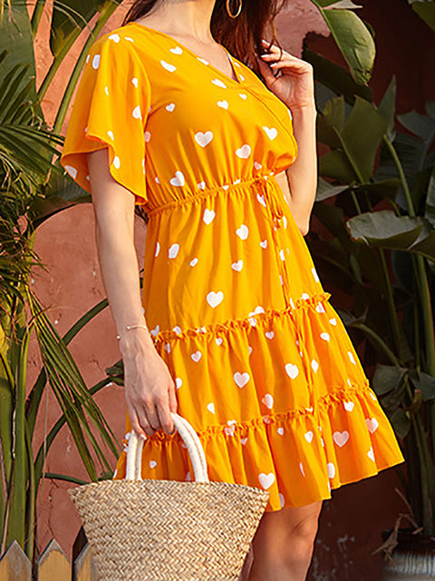 Color=Yellow | Lovely Printed V Neck Short Sleeves Summer Dress  For Women-Yellow 2