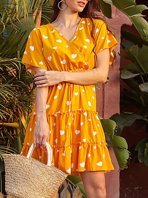 Color=Yellow | Lovely Printed V Neck Short Sleeves Summer Dress  For Women-Yellow 1