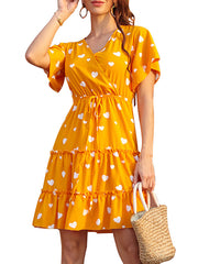 Color=Yellow | Lovely Printed V Neck Short Sleeves Summer Dress  For Women-Yellow 4